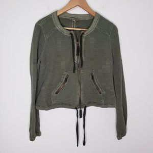 Free People Green Thermal Zip Up Jacket Size S